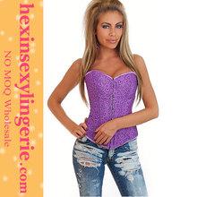 wholesale women balck leather steel boned corsets plus size