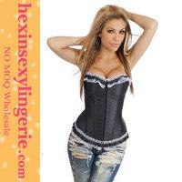 Wholesale young girls white dot print black sexy corsete