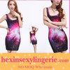 wholesale fashion floral tie dye woman red galaxy dress