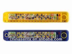 kids plastic sliding pencil case with game ruler