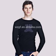 Men's slim fit 100%cotton printed long sleeve t shirt