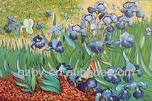 2014 Purple Iris Flowers In Field Famous Van Gogh Repro Oil On Canvas Painting