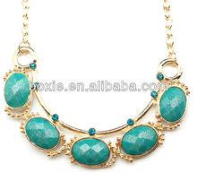 cheap glitter acrylic big stone alloy necklace, fashion artificial stone necklaces
