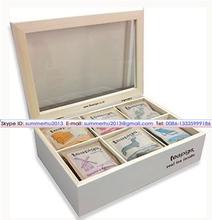 Fancy Best Gift Choose White Lacquer Wooden Tea Bag Box