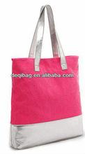 Summer Candy Color YELLOW PINK COTTON SHOPPER TOTE SHOPPING BAG beach bag