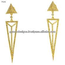 single cut white diamond triangle shaped earrings, 18k yellow pure gold designer handmade wedding earrings jewelry