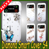 high quality diamond crystal leather case for samsung galaxy s4 i9500