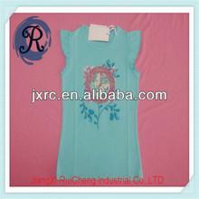 Fabricante de china básica de las niñas kid t- shirt cordón corto mangas sola camiseta tc 65/35 cenicienta de impresión vestidos para niñas