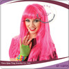long hot pink big curly party wig