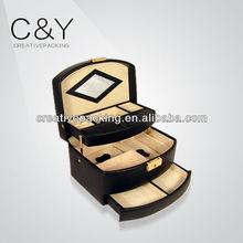 wholesale alibaba senior big capacity leather jewelry box/big lots mirror box