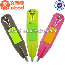 new design Plastic Bookmark Pen with Notepad