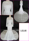 2013 elegant sheer design long sleeves guangzhou alencon lace mermaid wedding dresses with long train L0288