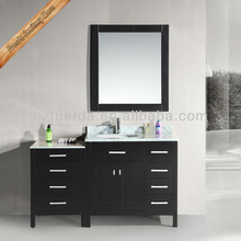 Waterproof solid wood marble top bathroom vanity with side cabinet