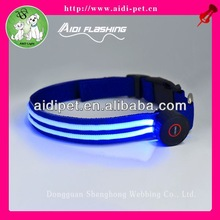 Safety LED night walks dog collar with two glowing tapes/ LED flat collar for pet dog