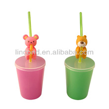 3D lenticular drinking pp cup with straw and lid