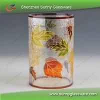Handmade Crackle Glass Hurricane Glass Candle Holder SGX101913