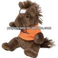 Alta qualtiy promocionais presente bonito e barato personalizado de pelúcia marrom brinquedo cavalo com laranja t- shirt
