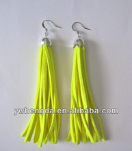 Fluorescent yellow and silver suede dangle tassel earrings