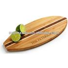 2014 Hot selling Surfboard Shaped Bamboo Cutting Board kitchen bamboo board with LFGB,FDA
