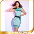 2014 kolsuz mavi bandaj arap seksi kadın elbise