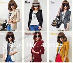 2013 Wholesale Fashion Women's OL Blazer Slim Zipper Long Sleeve Lapel Shrug Small Suit Jack ...