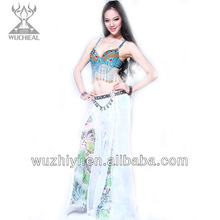 Wuchieal Plus Size Imitated Silk Belly Dance Pants with Printing, Comfortable Belly Dance Skirt Pants (QC2131)