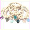 BRH1244 Fashion creamy river stone beads elastic bracelet with faceted bezel crystal gemstone charms
