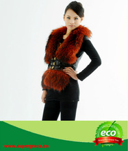 2014 Custom Warm Pink Natural Fashionable Fit Slim Women Raccoon dog Fur Vest