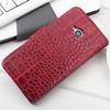 Crocodile luxury rock leather flip wallet case for htc one m7