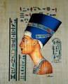 Pinturas egipcias de papiro, la reina nefertiti