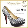 más calientes de diseñador de zapatos de las mujeres de punta cerrada suela roja señora del alto talón zapatos de color de rosa
