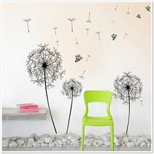 Huge Butterflies Dandelion 60 x 90cm Wall Stickers Paper Arts Living Room Decor Black