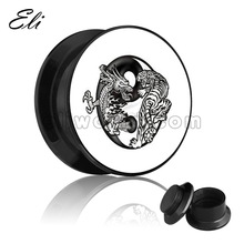 Exotic pciture dragon and tiger logo plug ear plug piercing jewelry
