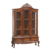 Natural Mahogany China Cabinet with Carved on Top