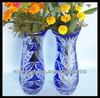 blue glass cylinder glass vase