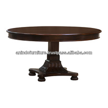 Round Carved Bottom Dining Table