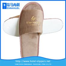 White embroidery logo bedroom or barthroom velvet disposable hotel slippers