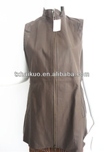 new fashion custome womens light brown sheep leather vests