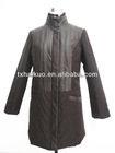 2013 latest unique women thick long winter leather coats with rabbit fur collar