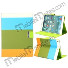 Colorful Lichee Pattern Magnetic Flip Stand Hard PC + Leather Wallet Case for iPad Air