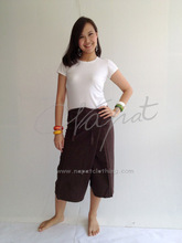 100% Thai Cotton Massage Pants Dark Brown Short Wrap Trousers Thai Fisherman