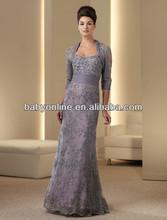2013 nova manga comprida renda mãe do Vintage dos vestidos de noiva com jaqueta vestidos de noite roxo HSC-042 frete grátis