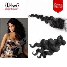 Brazilian silk base human hair closure with baby hair loose wave