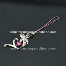 Key chain China A stone pink fish alloy pendant