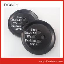 black nickel free silk-screen white logo four holes button for clothing/boton de metal para la ropa