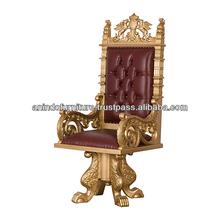 Heavy Carved King Swivel Desk Chair