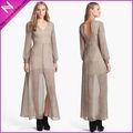 Yyh-lv102204 # transparente creme trecho vestido de renda