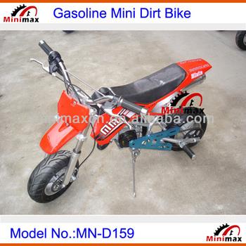 "Mini Dirt Bike for kids Gasoline MN-D159 2 stroke 49cc Pull Start Max Speed 60km/h with 10"" rubber wheel"