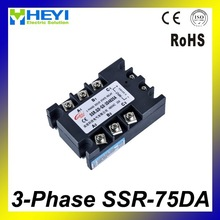 High quality good price Three phase Solid State Relay DC to AC 75A SSR-75DA