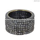 Anillo de Compromiso en Oro Amarillo de 14k Anillos de Plata Esterlina 925 con Incrustaciones de Diamantes
